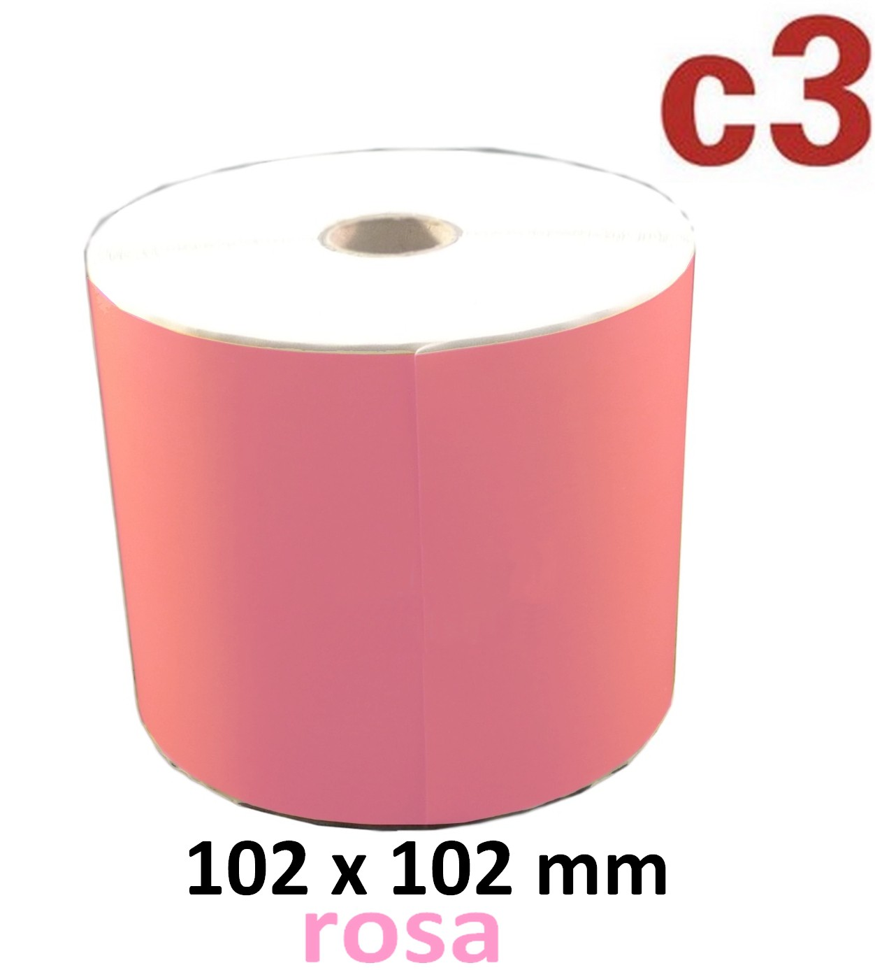 102 x 102 mm Thermodirekt Etiketten, rosa