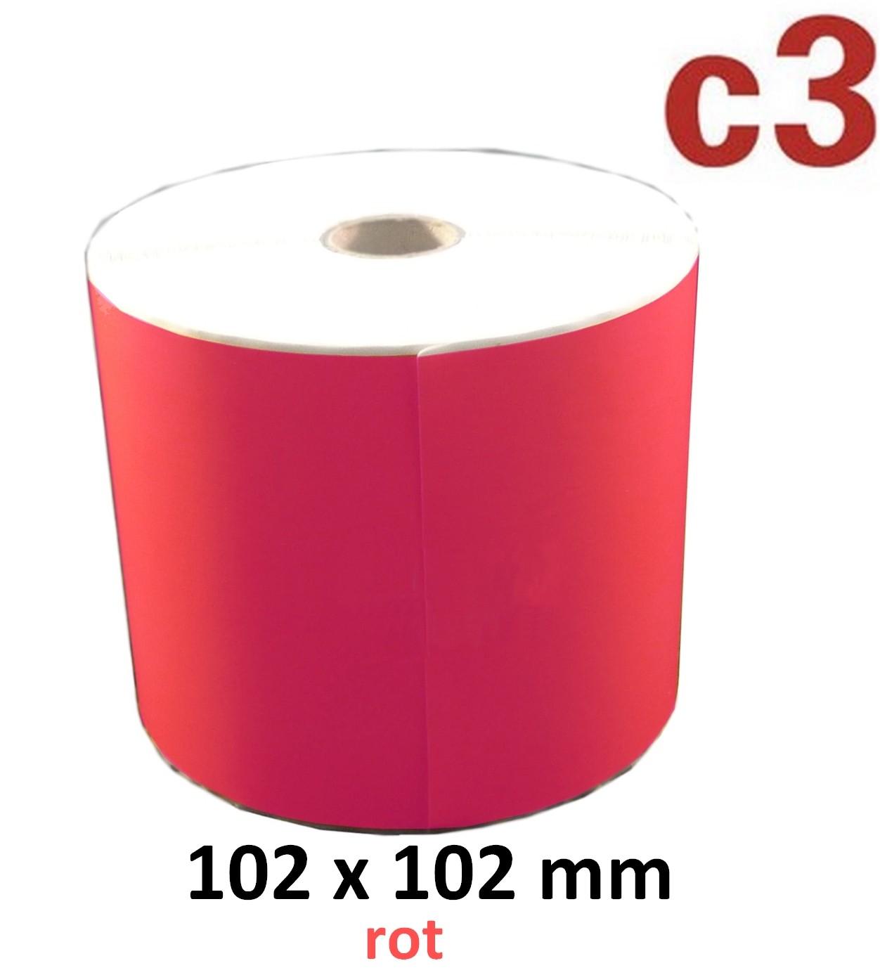 102 x 102 mm Thermodirekt Etiketten, rot