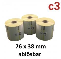 76 x 38 mm Thermodirekt Etiketten ablösbar