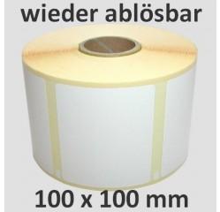 100 x 100 mm Thermodirekt Etiketten, wieder ablösbar
