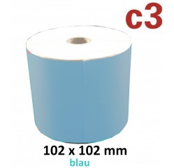 102 x 102 mm Thermodirekt Etiketten, blau