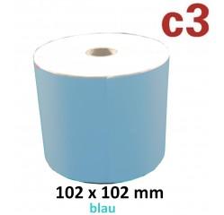 102 x 102 mm Thermodirekt Etiketten, blau