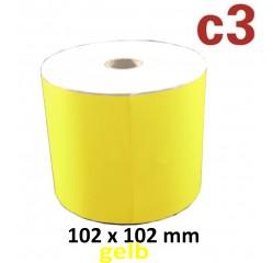 102 x 102 mm Thermodirekt Etiketten, gelb