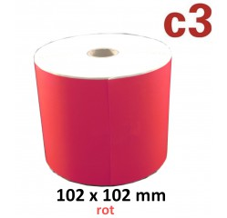 102 x 102 mm Thermodirekt Etiketten, rot