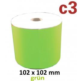 102 x 102 mm Thermodirekt Etiketten, grün