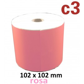 102 x 102 mm Thermodirekt Etiketten, rosa