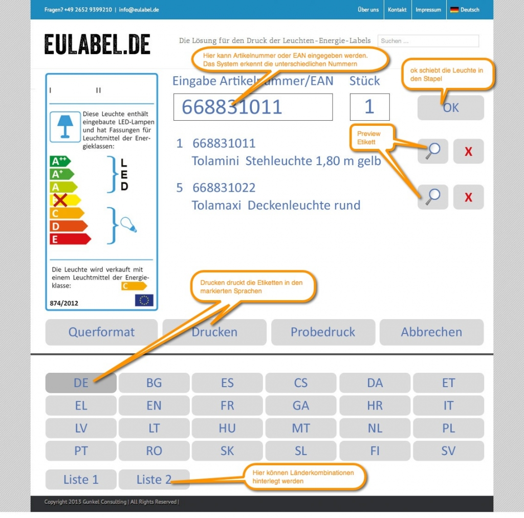 EU energielabel software EUlabel.de